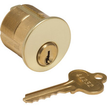 Mortise Cylinder - 5-Pin (Drilled 7) - Brass - Std Cam - Segal 9 - KD - 1-1/4