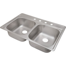 "Aspen 22 X 33"" Double Bowl Kitchen Sink Stainless Steel 4 Hole 8"" Depth"