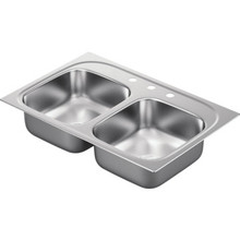 "Moen 22 x 33"" Double Bowl Kitchen Sink Stainless Steel 3 Hole 8"" Depth"