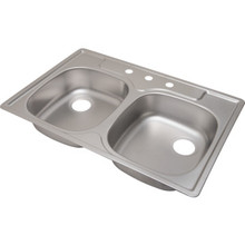 "ADA 21-1/4 X 33"" Double Bowl Kitchen Sink Stainless Steel 3 Hole 5-3/8"" Depth"
