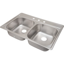 "Aspen 22 X 33"" Double Bowl Kitchen Sink Stainless Steel 3 Hole 8"" Depth"