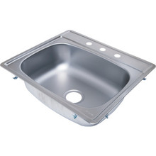 "Aspen 22 X 25"" Single Bowl Kitchen Sink Stainless Steel 3 Hole 7"" Depth"