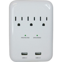 3 Outlet Surge Protector with 2 USB Ports - 4' Cord - White