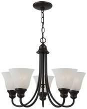 Five Light Fluorescent Chandelier Heirloom Bronze Alabaster-Style Glass