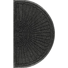 2 x 3' Indoor/Outdoor Floor Mat Black Smoke Andersen Water Hog Half Oval