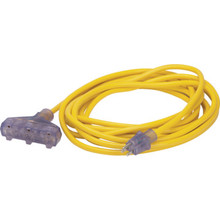 25' Yellow Triple Tap Outdoor Extension Cord - Lighted Ends - 12/3 SJTW