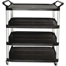 Rubbermaid Open Sided 4 Shelf Cart - Black