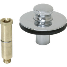 "Watco Bathtub Drain Stopper Push-Pull 3/8"" or 5/16"" Threaded Pin Chrome Finish"