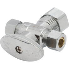 Maintenance Warehouse# Qtr-Turn Dual Angle Stop 1/2 Comp x 3/8 x 3/8 Comp