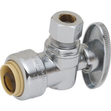 Maintenance Warehouse Push-To-Connect Qtr-Turn Angle Stop Valve 1/2 x 3/8