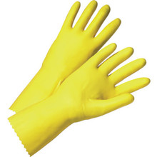 Glove Yellow Latex Flock Lined - Large