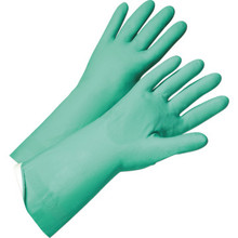 Glove Green Nitrile Flock Lined Glove - Medium