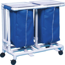 IPU Double Hamper With Foot Pedals 32 Gallon Royal Blue Mesh