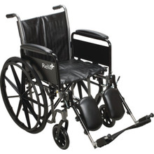 ReliaCare Wheelchair 20W Full Length Arms Elevating Leg Rests