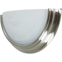One-Light 13W Fluorescent Wall Brushed Nickel Alabaster-Style Glass