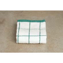 Kitchen Towel 15x25 White With Green Check Package Of 12