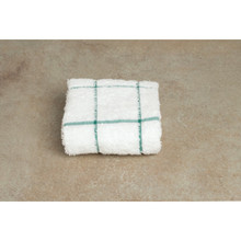 Dish Cloth 12x12 White With Green Check Package Of 12