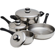7-Piece Stainless Steel Pot/Pan Set Case Of 2