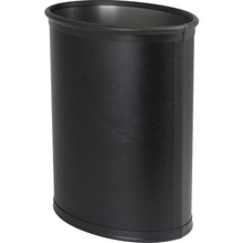 13 Qt. Oval Metal Wastebasket Wrapped In Vinyl With Top And Bottom Bumpers Black