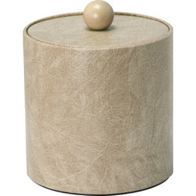 3 Quart Deluxe Leatherette Round Ice Bucket Antique White