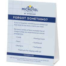 Microtel Inn and Suites Forget Something Tent Card, Case of 100