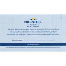 Microtel Inn and Suites Maintenance Card, Case of 100