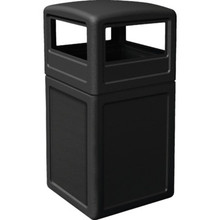38 Gallon PolyTec Black Trash Can With Dome Lid