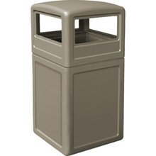 38 Gallon PolyTec Beige Trash Can With Dome Lid