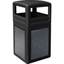 42 Gallon StoneTec Black With Pepperstone Paneled Trash Can With Dome Lid