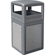 42 Gallon StoneTec Gray With Ashtone Paneled Trash Can With Dome Lid