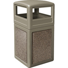 38 Gallon StoneTec Beige With Riverstone Paneled Trash Can With Dome Lid