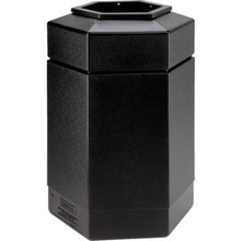 30 Gallon PolyTec Hexagon Black Trash Can