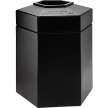 45 Gallon PolyTec Hexagon Black Trash Can