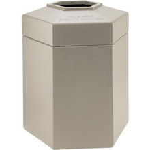 45 Gallon PolyTec Hexagon Beige Trash Can