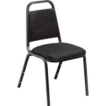 NPSC Black Vinyl Seat Stackable Chair Package Of 4
