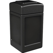 42 Gallon PolyTec Black Square Trash Can