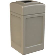 42 Gallon PolyTec Beige Square Trash Can