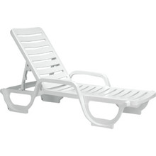 Grosfillex Bahia Chaise Lounge White, Package Of 6
