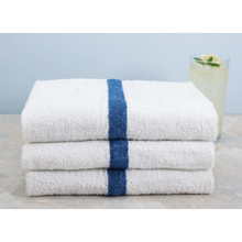 Pool Towel Cam 22x44 6 Lbs/Dozen White With Blue Center Stripe Package Of 12