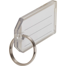 1-1/8 x 2-1/4 Heavy-Duty Clear Key Tag With Split Ring And 3-Line Insert,10/Pk