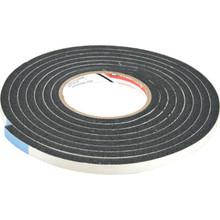 """1-1/4"""" Width x 7/16"""" Height x 10' Length Sponge Rubber Foam Tape Black"""