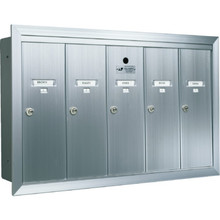 5 Door Recessed Mailbox Bank Silver