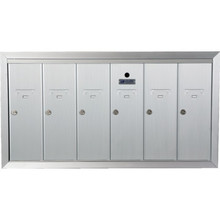 6 Door Recessed Mailbox Bank Silver
