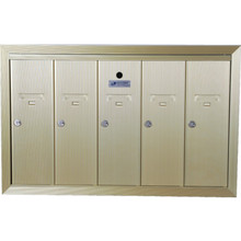 5 Door Recessed Mailbox Bank Gold
