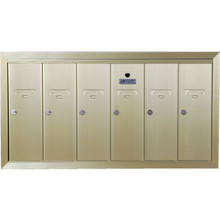 6 Door Recessed Mailbox Bank Gold
