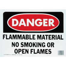 """Danger Flammable Material No Smoking Or Open Flames"" Sign"