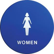 "Plastic Round ""Women"" Restroom Sign"