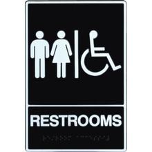 "Plastic Braille ""Restrooms/Wheelchair"" Sign"