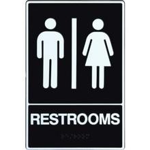 "Plastic Braille ""Restrooms"" Sign"