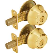 Kwikset KA Single Cylinder Deadbolt Brass, Package of 2